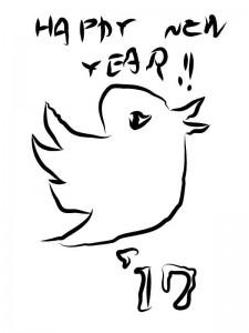 ツイッターに媚びた感じの鳥イラスト 酉年年賀状イラスト