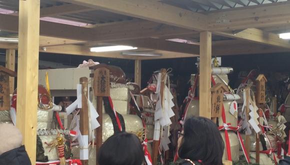 2018年 国府宮はだか祭の奉納された大鏡餅