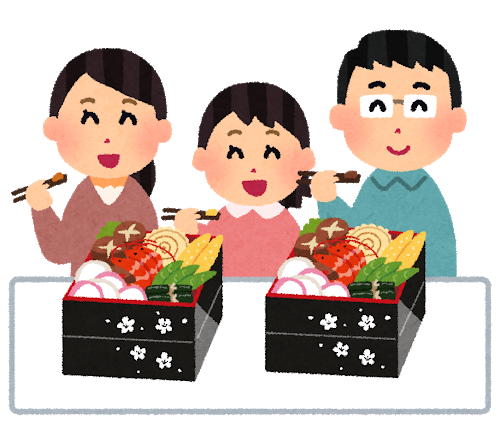 おせち料理を食べる家族