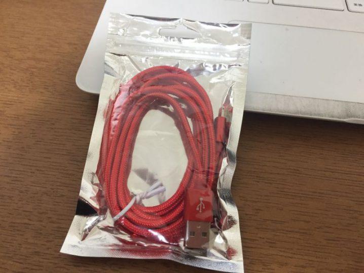 有効期限が迫ったTポイントでナイロン製iPhone充電ケーブルを買った