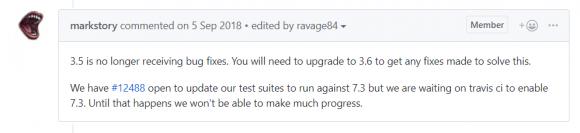 PHP7.3 on CentOS7.6でCakePHP3.5系を実行したときに出る「Undefined variable: eTagMatches」Noticeエラーへの対処