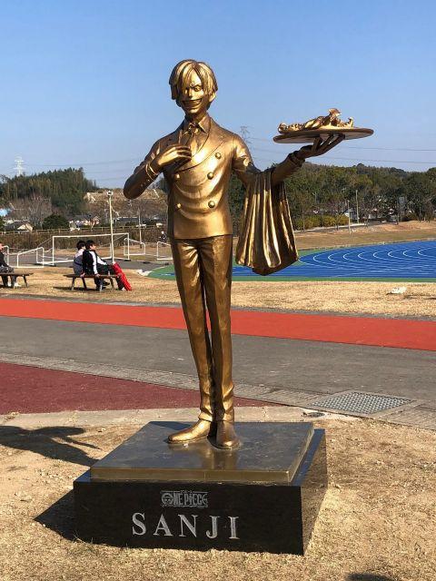 サンジ像は益城町情報交流センターミナテラス横の公園